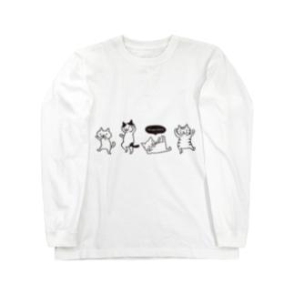 ダンシングネコ(黒プリント) Long sleeve T-shirts