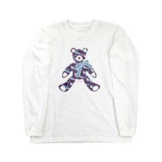 さかたようこ / サメ画家のサメ好きのためのテディベア| Water Purple Long sleeve T-shirts