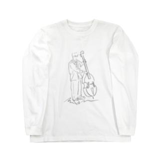線画 コントラバスの人 Long Sleeve T-Shirt