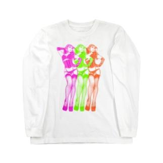 トリプル・ウノ(ネオン) Long sleeve T-shirts