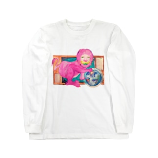 ピンクのライオン Long sleeve T-shirts