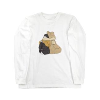 くまマフラー。 Long sleeve T-shirts