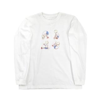 猫すけのでんぐり返しシンプル Long sleeve T-shirts