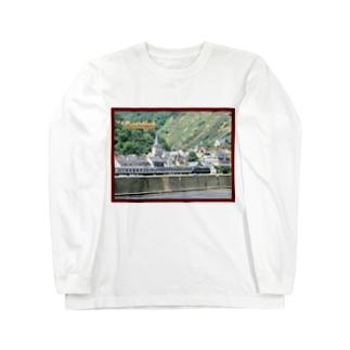 ドイツ:ライン河畔の風景写真 Germany: Riverside view of rhein Long sleeve T-shirts