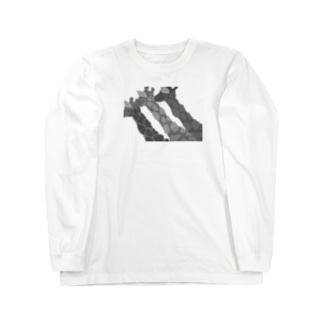 GIRAFFEジラフじらふ/モノクロ Long sleeve T-shirts