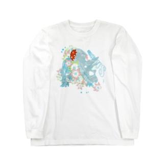 花と恐竜 カラフルver  Long sleeve T-shirts