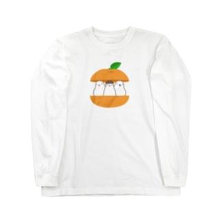 ジュウシマツ三人衆・ミカン Long sleeve T-shirts