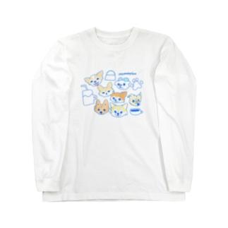 「保護犬カフェ支援」グッズ 犬 大集合 カフェバージョン Long sleeve T-shirts