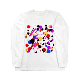 ドリッピング柄風 Long sleeve T-shirts