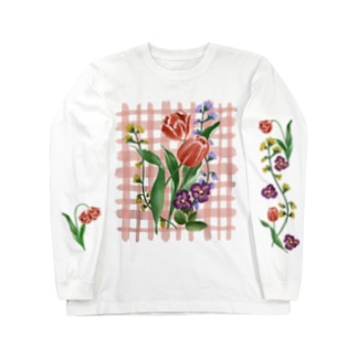 flower check/ pink Long sleeve T-shirts