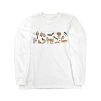 夏の山の動物たち Long sleeve T-shirts