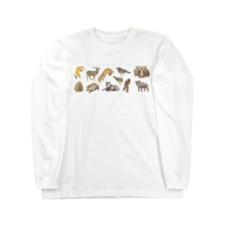 冬の山の動物たち Long sleeve T-shirts