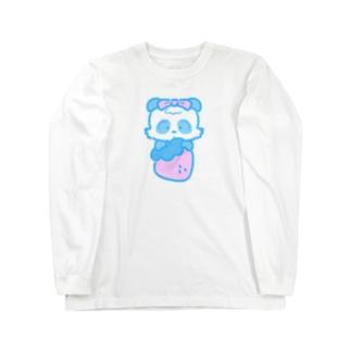 春パンダ あお Long sleeve T-shirts