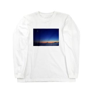 🚢水平線に沈む夕陽 Long sleeve T-shirts