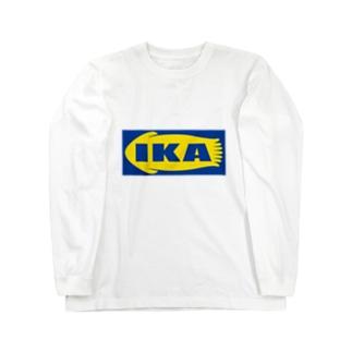 IKA イカ いか  ロゴ  Long sleeve T-shirts