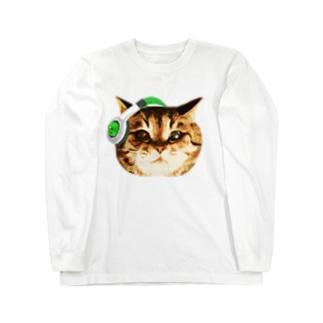猫DJ(顔だけのやつ)ver.2 Long sleeve T-shirts