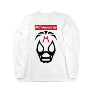 DRIPPEDのMIL MASCARAS-ミル・マスカラス-赤ボックスロゴ Long sleeve T-shirts
