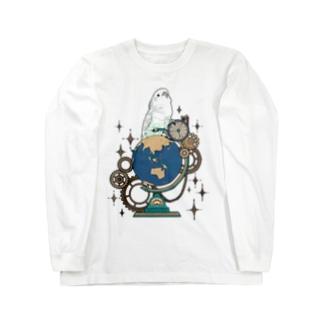 オウムと地球儀デジタルver Long sleeve T-shirts