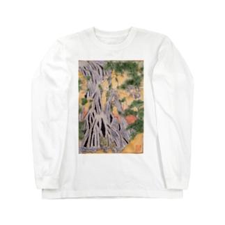 小粋な刺繍『諸国瀧廻り 下野黒山きりふりの滝』 Long sleeve T-shirts