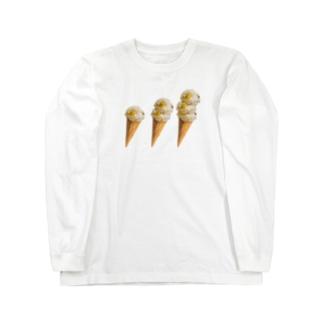 栗ご飯(アイスクリーム) Long sleeve T-shirts