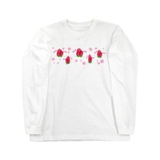 ふわふわ、苺だいふく小鳥♩ Long sleeve T-shirts