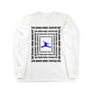 落ちる人 blue Long sleeve T-shirts