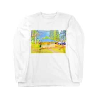 ラナイ島にある小さく可愛いBank of Hawaii(イラスト) Long sleeve T-shirts