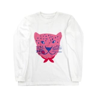 食いしん坊ジャガーピンク Long sleeve T-shirts