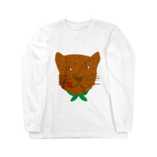食いしん坊ジャガー茶 Long sleeve T-shirts