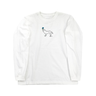 ohkami お花ブルー Long sleeve T-shirts