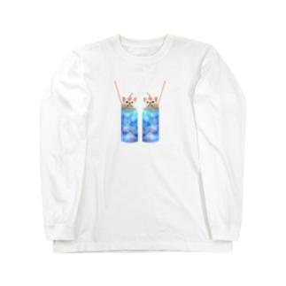 双子なクリームソーダなまりおちゃん Long sleeve T-shirts