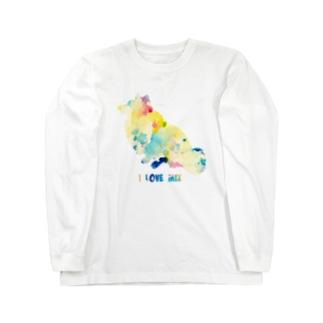 シェルティ×コーギーMIXお座り【パレット】 Long sleeve T-shirts