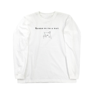 Laugh with a cat (ねこと笑う) Long sleeve T-shirts
