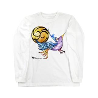 月と鳥 Long sleeve T-shirts