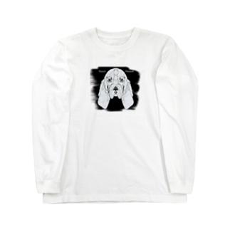 バセットハウンド・切り絵 Long sleeve T-shirts