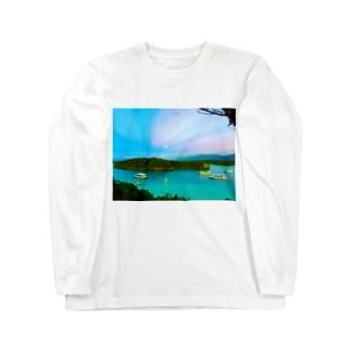 川平湾と月とマジックアワー Long sleeve T-shirts