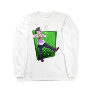 ツートンちゃん(緑背景) Long sleeve T-shirts