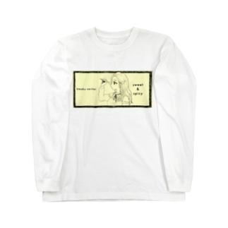 -ウマクナリタイ-ロングヘア女子 クリームイエロー Long sleeve T-shirts