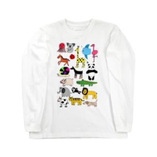 アニマルプリント(下手な絵) Long sleeve T-shirts