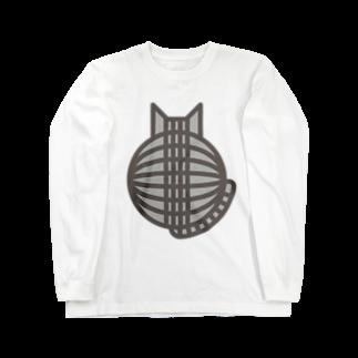 SHOP W SUZURI店の猫の丸い背中(サバトラ) ロングスリーブTシャツ Long sleeve T-shirts