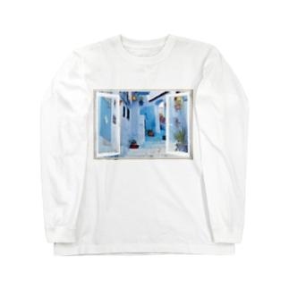 どこでも窓モロッコの町シャウエン Long sleeve T-shirts