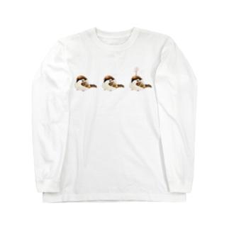 ぽっちゃり雀(桜ちょんまげ) Long sleeve T-shirts