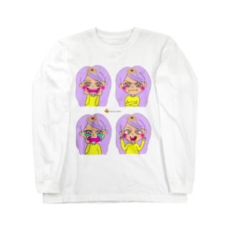 ハートちゃんのハッピーフェイス♡ロゴ入りバージョン Long sleeve T-shirts