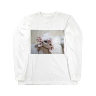 招き猫 珀ちゃん Long sleeve T-shirts