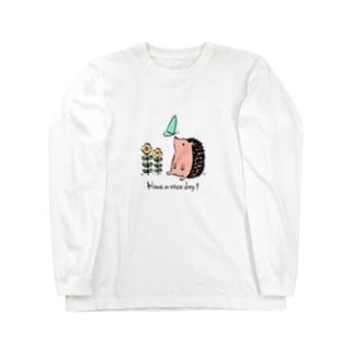 ハリネズミの「良い1日を!」 Long sleeve T-shirts