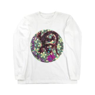 月光装身具ロゴコミカル花柄 Long sleeve T-shirts