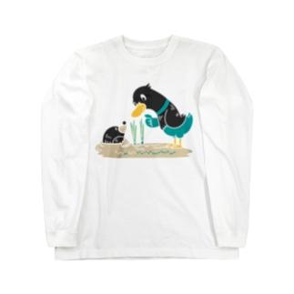 CT159 ネギを値切っている鴨カモ*B*白フチなし*大きいイラスト Long sleeve T-shirts