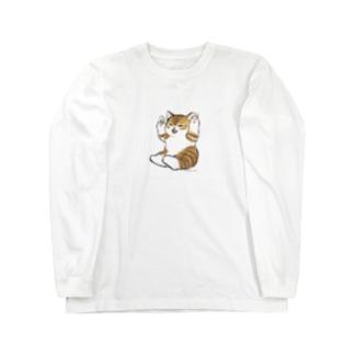 喜ぶ猫 Long sleeve T-shirts