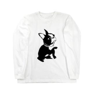 お手をするフレンチブルドッグシンプル画 Long sleeve T-shirts