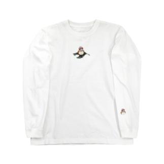 キンカチョウと葉っぱ Long sleeve T-shirts